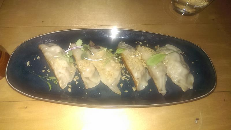 Pork gyoza dumplings at Etsu Japanese Restaurant